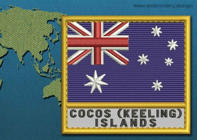 This Flag of Cocos (Keeling) Islands Text with a Gold border design was digitized and embroidered by www.embroidery.design.
