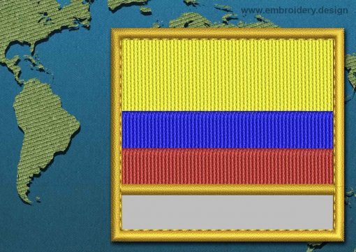 This Flag of Colombia Customizable Text  with a Gold border design was digitized and embroidered by www.embroidery.design.