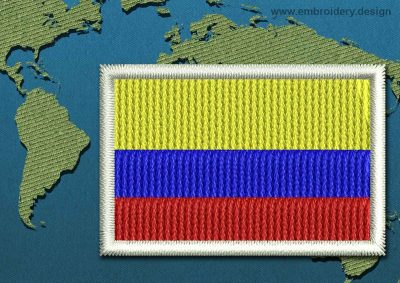 This Flag of Colombia Mini with a Colour Coded border design was digitized and embroidered by www.embroidery.design.
