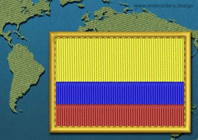 This Flag of Colombia Rectangle with a Gold border design was digitized and embroidered by www.embroidery.design.
