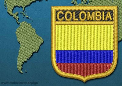 This Flag of Colombia Shield with a Gold border design was digitized and embroidered by www.embroidery.design.