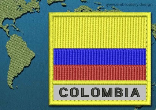 This Flag of Colombia Text with a Colour Coded border design was digitized and embroidered by www.embroidery.design.