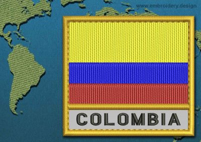 This Flag of Colombia Text with a Gold border design was digitized and embroidered by www.embroidery.design.