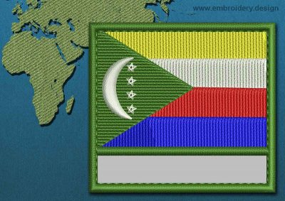 This Flag of Comoros Customizable Text  with a Colour Coded border design was digitized and embroidered by www.embroidery.design.