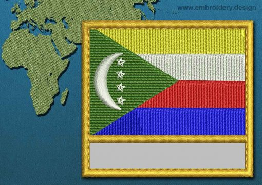 This Flag of Comoros Customizable Text  with a Gold border design was digitized and embroidered by www.embroidery.design.