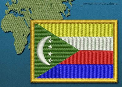This Flag of Comoros Rectangle with a Gold border design was digitized and embroidered by www.embroidery.design.