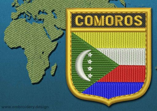 This Flag of Comoros Shield with a Gold border design was digitized and embroidered by www.embroidery.design.