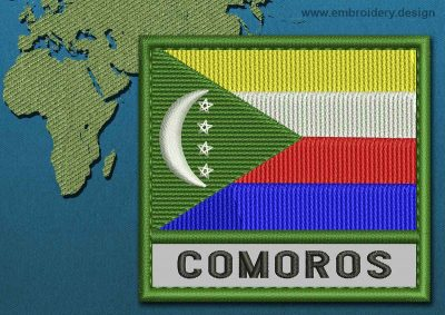 This Flag of Comoros Text with a Colour Coded border design was digitized and embroidered by www.embroidery.design.