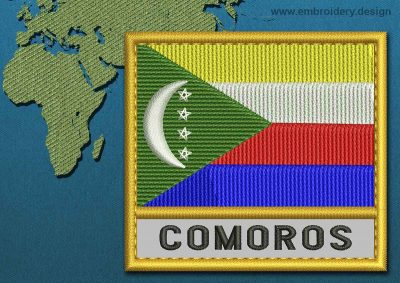 This Flag of Comoros Text with a Gold border design was digitized and embroidered by www.embroidery.design.