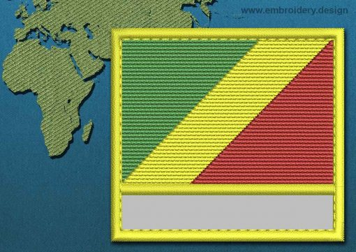 This Flag of Congo Brazzaville Customizable Text  with a Colour Coded border design was digitized and embroidered by www.embroidery.design.