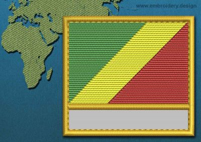 This Flag of Congo Brazzaville Customizable Text  with a Gold border design was digitized and embroidered by www.embroidery.design.