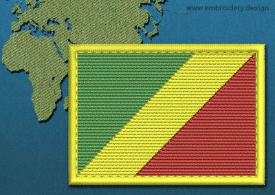 This Flag of Congo Brazzaville Rectangle with a Colour Coded border design was digitized and embroidered by www.embroidery.design.