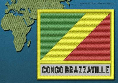 This Flag of Congo Brazzaville Text with a Colour Coded border design was digitized and embroidered by www.embroidery.design.
