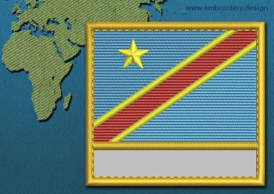 This Flag of Congo Democratic Republic Customizable Text  with a Gold border design was digitized and embroidered by www.embroidery.design.