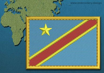 This Flag of Congo Democratic Republic Rectangle with a Gold border design was digitized and embroidered by www.embroidery.design.