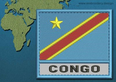 This Flag of Congo Democratic Republic Text with a Colour Coded border design was digitized and embroidered by www.embroidery.design.