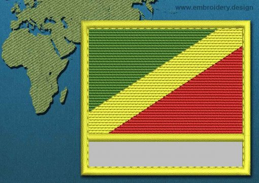 This Flag of Congo Republic Customizable Text  with a Colour Coded border design was digitized and embroidered by www.embroidery.design.