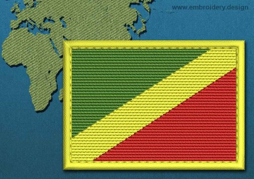 This Flag of Congo Republic Rectangle with a Colour Coded border design was digitized and embroidered by www.embroidery.design.