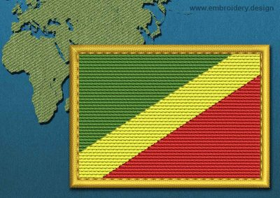 This Flag of Congo Republic Rectangle with a Gold border design was digitized and embroidered by www.embroidery.design.