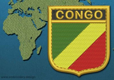 This Flag of Congo Republic Shield with a Gold border design was digitized and embroidered by www.embroidery.design.
