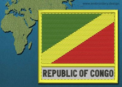 This Flag of Congo Republic Text with a Colour Coded border design was digitized and embroidered by www.embroidery.design.