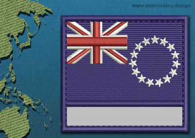 This Flag of Cook Islands Customizable Text  with a Colour Coded border design was digitized and embroidered by www.embroidery.design.