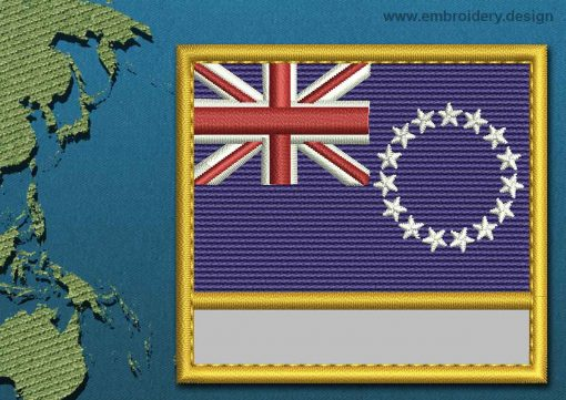 This Flag of Cook Islands Customizable Text  with a Gold border design was digitized and embroidered by www.embroidery.design.