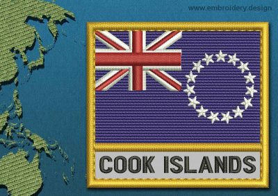 This Flag of Cook Islands Text with a Gold border design was digitized and embroidered by www.embroidery.design.