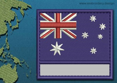 This Flag of Coral Sea Islands Customizable Text  with a Colour Coded border design was digitized and embroidered by www.embroidery.design.