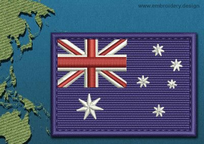 This Flag of Coral Sea Islands Rectangle with a Colour Coded border design was digitized and embroidered by www.embroidery.design.