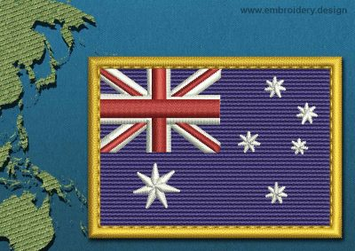 This Flag of Coral Sea Islands Rectangle with a Gold border design was digitized and embroidered by www.embroidery.design.