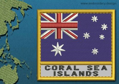 This Flag of Coral Sea Islands Text with a Gold border design was digitized and embroidered by www.embroidery.design.