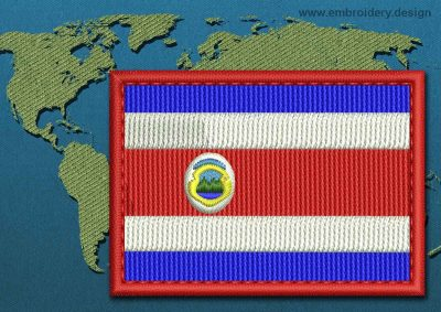 This Flag of Costa Rica Rectangle with a Colour Coded border design was digitized and embroidered by www.embroidery.design.