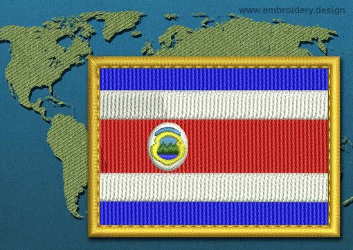 This Flag of Costa Rica Rectangle with a Gold border design was digitized and embroidered by www.embroidery.design.