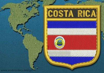 This Flag of Costa Rica Shield with a Gold border design was digitized and embroidered by www.embroidery.design.