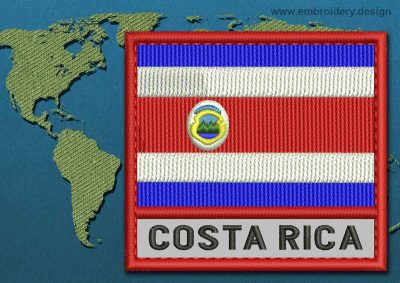 This Flag of Costa Rica Text with a Colour Coded border design was digitized and embroidered by www.embroidery.design.