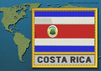 This Flag of Costa Rica Text with a Gold border design was digitized and embroidered by www.embroidery.design.