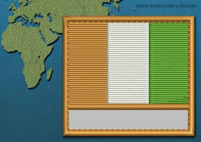 This Flag of Cote d'Ivoire Customizable Text  with a Colour Coded border design was digitized and embroidered by www.embroidery.design.