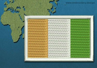 This Flag of Cote d'Ivoire Mini with a Colour Coded border design was digitized and embroidered by www.embroidery.design.