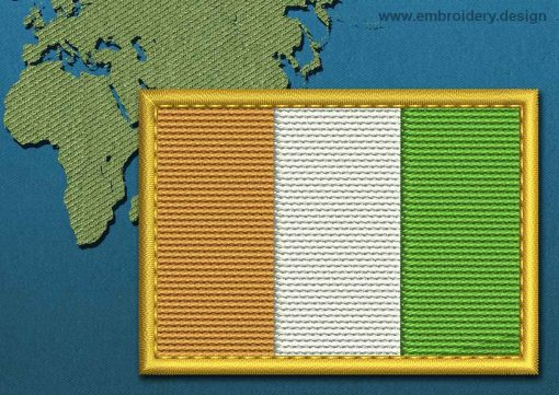 This Flag of Cote d'Ivoire Rectangle with a Gold border design was digitized and embroidered by www.embroidery.design.