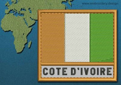 This Flag of Cote d'Ivoire Text with a Colour Coded border design was digitized and embroidered by www.embroidery.design.
