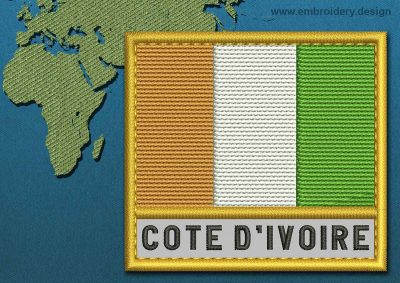 This Flag of Cote d'Ivoire Text with a Gold border design was digitized and embroidered by www.embroidery.design.