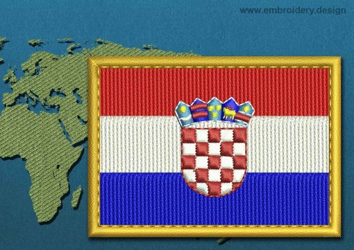This Flag of Croatia Rectangle with a Gold border design was digitized and embroidered by www.embroidery.design.