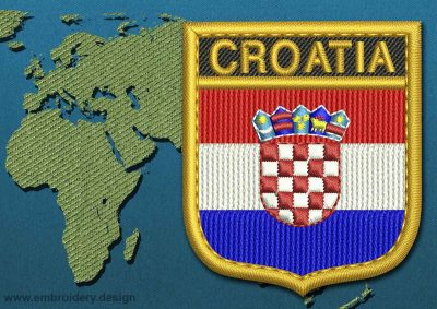 This Flag of Croatia Shield with a Gold border design was digitized and embroidered by www.embroidery.design.