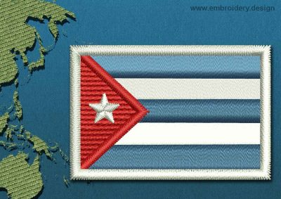 This Flag of Cuba Mini with a Colour Coded border design was digitized and embroidered by www.embroidery.design.