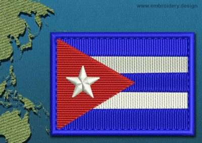 This Flag of Cuba Rectangle with a Colour Coded border design was digitized and embroidered by www.embroidery.design.