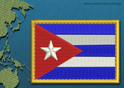 This Flag of Cuba Rectangle with a Gold border design was digitized and embroidered by www.embroidery.design.