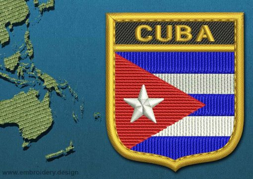 This Flag of Cuba Shield with a Gold border design was digitized and embroidered by www.embroidery.design.