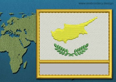 This Flag of Cyprus Customizable Text  with a Gold border design was digitized and embroidered by www.embroidery.design.