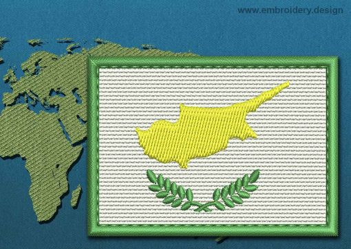 This Flag of Cyprus Rectangle with a Colour Coded border design was digitized and embroidered by www.embroidery.design.